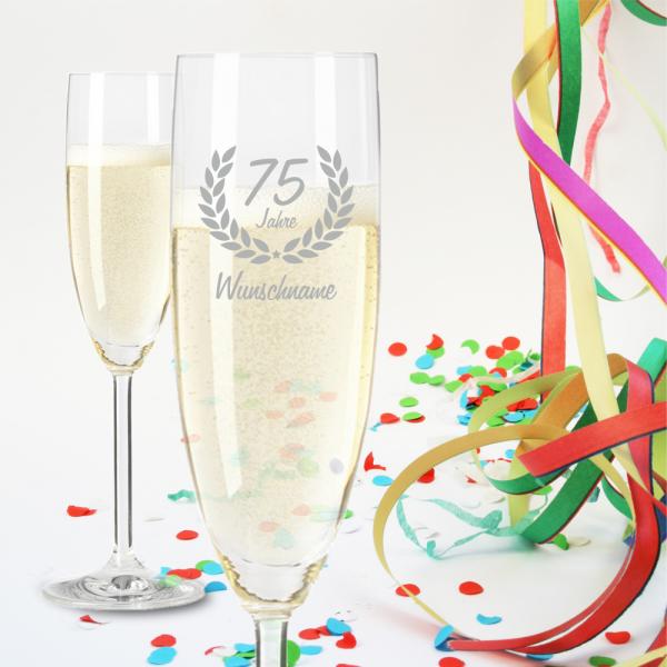 Sektglas zum 75. Geburtstag - Dein Wunschname