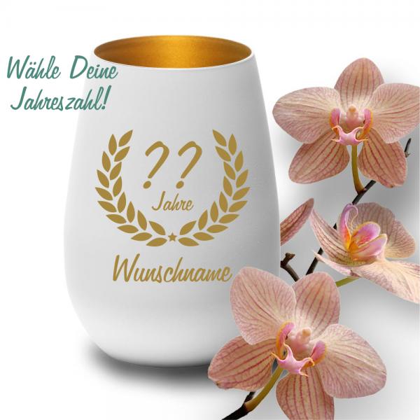 Glas-Windlicht zum Geburtstag mit Deinem Wunschjahr weiss gold