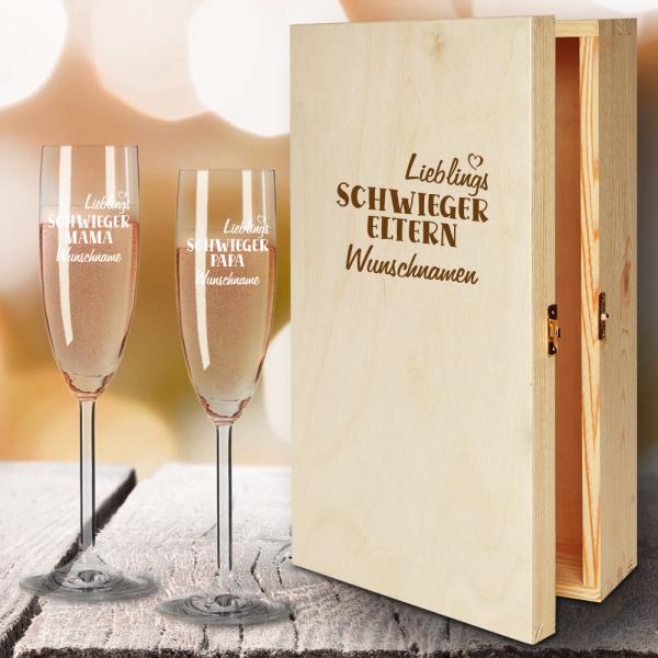 Geschenkbox Sektgläser von Leonardo mit Gravur Lieblings-Schwiegereltern