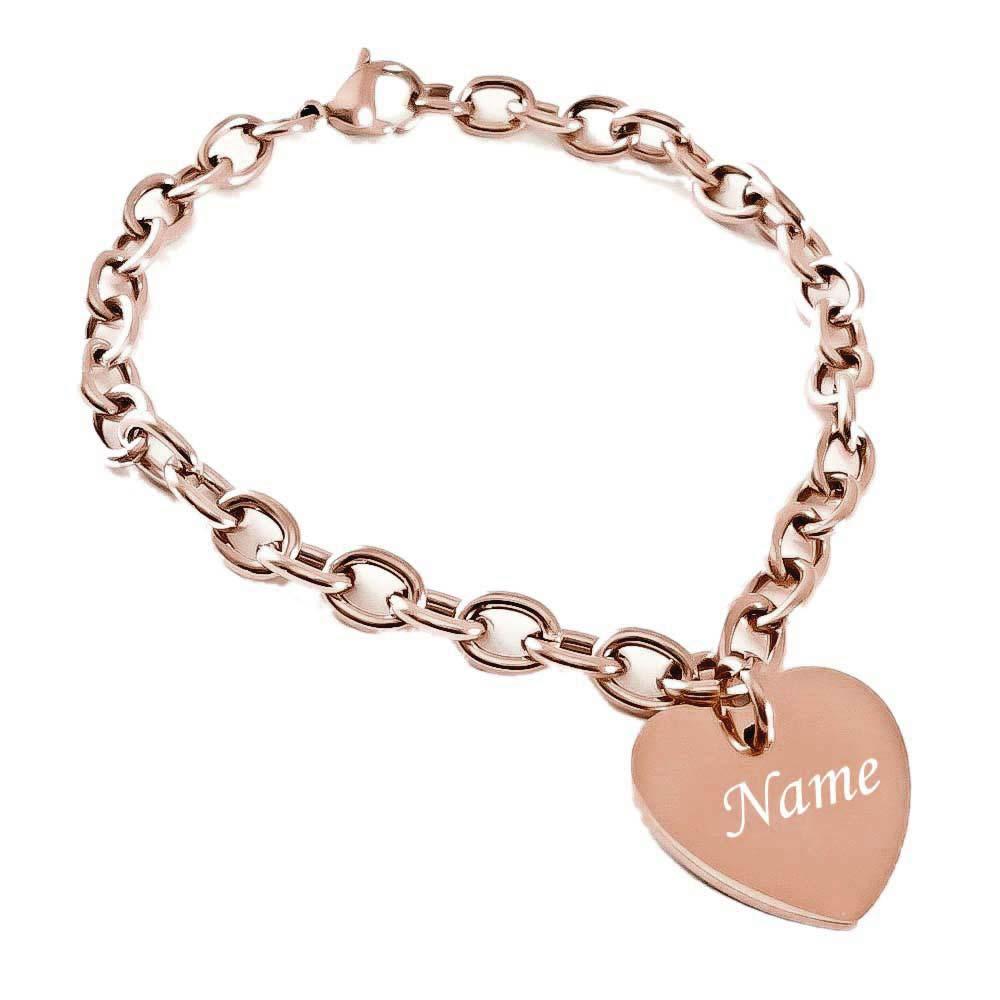 großes Sortiment Volumen groß Freiraum suchen Herz-Armband mit Gravur Edelstahl rosegold