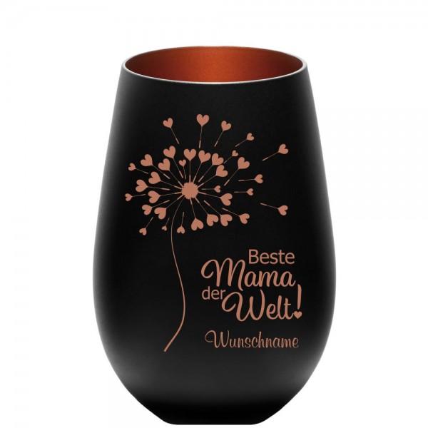 Windlicht schwarz mit Gravur Beste Mama