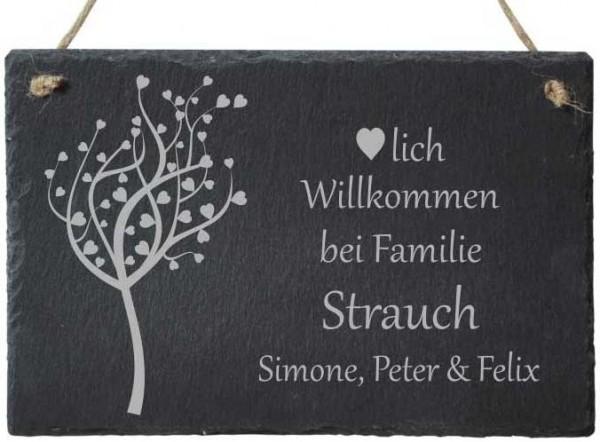 Haustür-Schild Schiefer mit Namensgravur Familienbaum Herzen