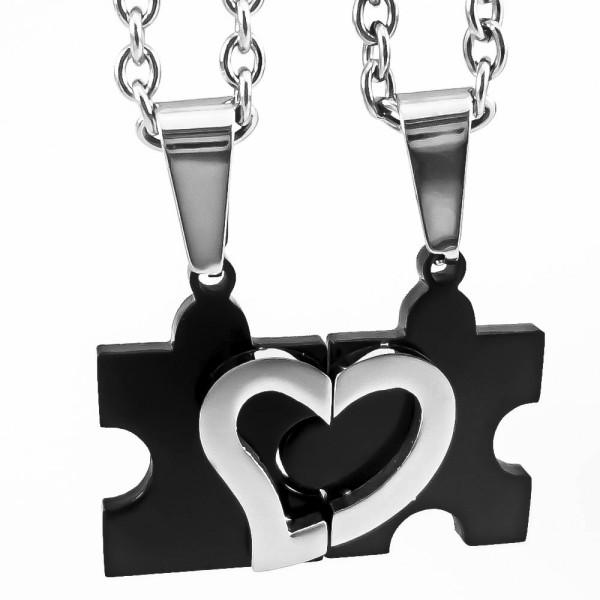 Trendgravur Partneranhänger Puzzle schwarz