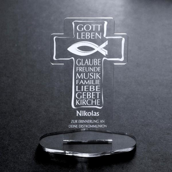 """Acryl-Kreuz mit Deiner Namensgravur """"Zur Erstkommunion"""""""